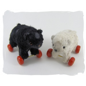 black & White bears on Wheels
